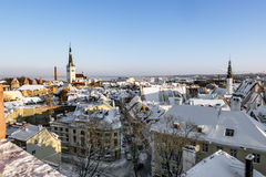 View of the roofs of the old town of Tallinn in winter. Estonia Royalty Free Stock Photos