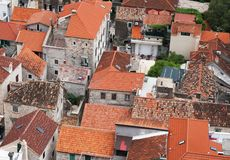 Omis town in Croatia. stock images