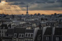 Paris city in evening stock photos