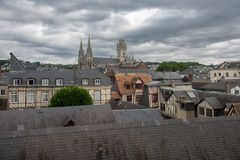 View on the roofs of Rouen. Vieew on the roofs of Rouen in stormy weather Stock Photography