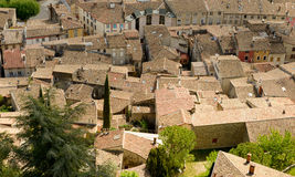 View of the roofs of the town of Crest, Drome, France. A view of the roofs of the town of Crest, Drome, France stock photos