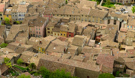 View of the roofs of the town of Crest, Drome, France. A view of the roofs of the town of Crest, Drome, France royalty free stock photography
