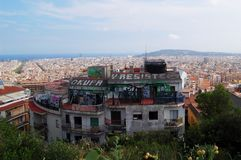 View of rooftop full of colorful artwork in Barcelona Stock Images