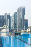 View from the rooftop pool of the city Royalty Free Stock Image