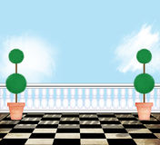 View From a Rooftop Terrace With Topiaries Stock Photography