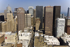 View from the rooftop to the city of San Francisco Stock Photos