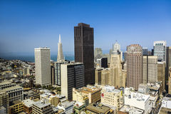 View from the rooftop to the city of San Francisco Stock Image