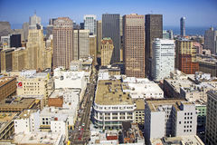 View from a rooftop to San Francisco Downtown Stock Images