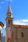 View of the rooftops and the bay of Budva in Montenegro. In the summer sunny day Stock Images