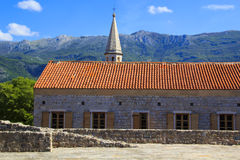 View of the rooftops and the bay of Budva in Montenegro. In the summer sunny day Royalty Free Stock Image