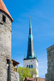 View the rooftops and church spiers of Old Town Tallinn Stock Photography