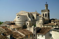View on the rooftops of the city of Uzès stock image