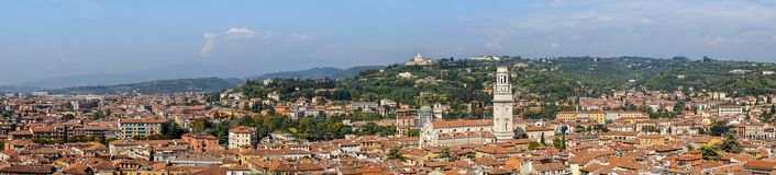 Historic cityscape of Verona. View of the rooftops of the old town and the Verona Cathedral in Italy Stock Photography