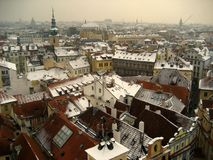 A view at rooftops of Prague, Chech Republic royalty free stock image