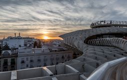 A view of the rooftops of Seville at sunset royalty free stock photo