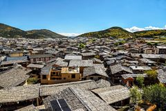 View of the rooftops in Shangri La. View of the rooftops of Dukezong ancient town in Zhongdian, called also Shangri La, Yunnan province, China Stock Image
