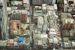 View rooftops of simple quarters in Bangkok Royalty Free Stock Images