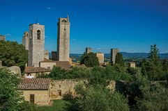 View of rooftops and towers at San Gimignano royalty free stock photo