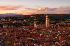 View of rooftops in Verona from the Lamberti Tower Stock Images