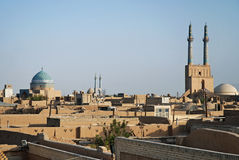 View of rooftops in yazd iran. View of rooftops in central yazd iran Royalty Free Stock Photo