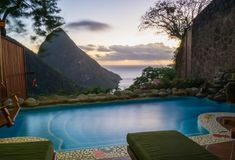 View from the room in St. Lucia stock photos