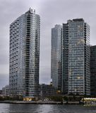 View from Roosevelt Island of Queens NewYork. View from Roosevelt Island of Queens New York, tall high rises, glass and steel Stock Images