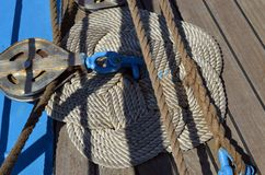 Ropes of sailboat royalty free stock photo