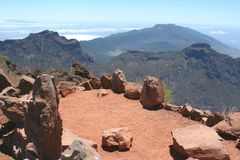 Panorama from Roque de Los Muchachos, isle of La Palma, Spain Stock Photo