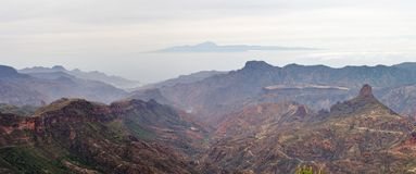 View from Roque Nublo. It is one of the most famous landmarks in the island of Gran Canaria Royalty Free Stock Photography