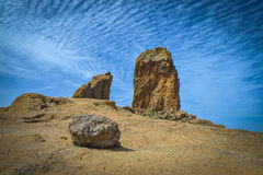 View of the Roque Nublo peak on Gran Canaria island, Spain Royalty Free Stock Photos