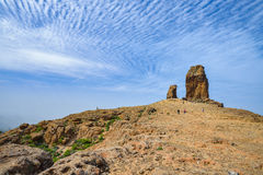 View of the Roque Nublo peak on Gran Canaria island, Spain Royalty Free Stock Images