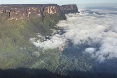 View from the Roraima tepui on Kukenan tepui at the mist - Venez Royalty Free Stock Photo