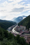 A view of the Rosa Khutor. The view from the cable car to the Rosa Khutor Royalty Free Stock Photography