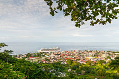 View of Roseau, capital of Dominica. Roseau, Dominica - December 4, 2011: A general view of Roseau, capitlal of Dominica, taken from a hill overlooking the city stock images