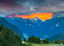 View of the Rosengarten Grup range at morning. View from Pordoi Stock Photo