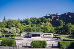 A view of the Ross Bandstand in Princess Street gardens, Edinburgh. A view of the Ross Bandstand in Princess Street gardens, Edinburgh, Scotland, UK. It is well royalty free stock photography