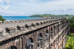 A wing of Cellular jail at Port Blair, Andaman and Nicobar India. View of Ross island from the infamous cellular jail where Indian political leaders where royalty free stock photo