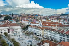 View of Rossio square in the central Lisbon, Portugal Royalty Free Stock Photo