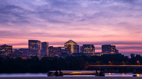 View of Rosslyn and Potomac River at night. City lights of Rosslyn, VA and Potomac River - view from Washington DC Royalty Free Stock Photography