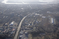 View Rostov-on-Don on board the aircraft Stock Photos