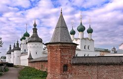 View on the Rostov Kremlin. Its wall, towers and churches in the city of Rostov Stock Image