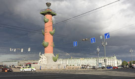 View of the Rostral column in Saint-Petersburg Stock Photos