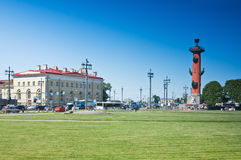 View of the Rostral Columns of Vasilevsky Island Royalty Free Stock Photo