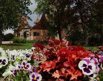 A view of Rothenburg ob der Tauber through the garden royalty free stock images
