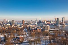 View of the Rotterdam. Rotterdam view from Euromast tower at winter sunny day. another  Rotterdam views available Stock Images
