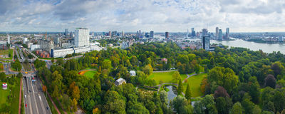 View of Rotterdam city. And park from Euromast tower - Netherlands Royalty Free Stock Photos
