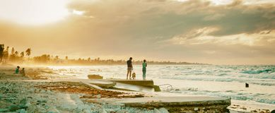 View of the rough sea on the eastern beaches in Havana. Cuba stock image