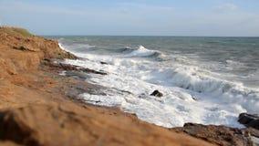 Rough sea on the Livorno coast stock footage