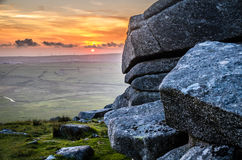View from Rough Tor at sunset Royalty Free Stock Photos