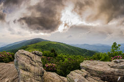 View of Round Bald from Rocks on Jane Bald Royalty Free Stock Image